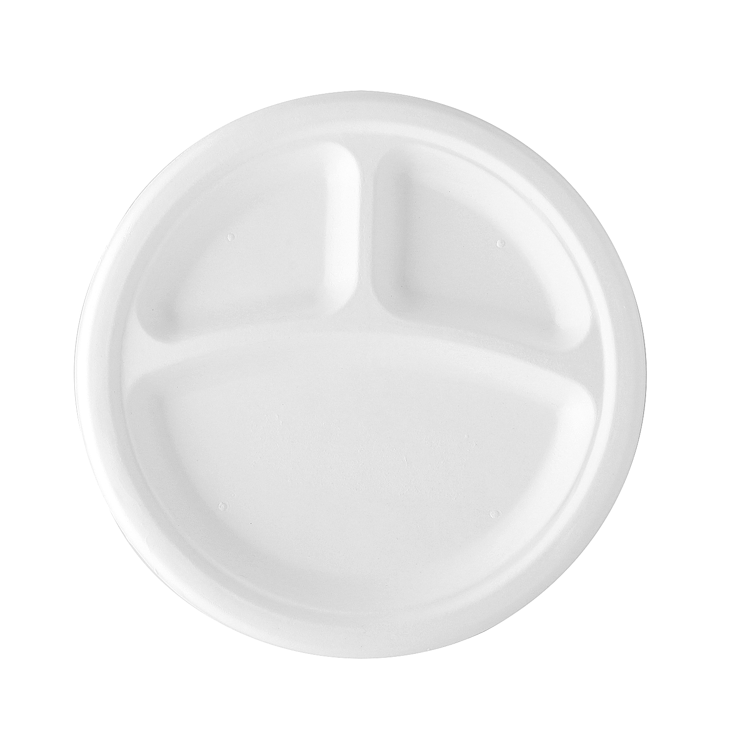 10 Inch 3 Compartment Biodegradable Bagasse Round Plate