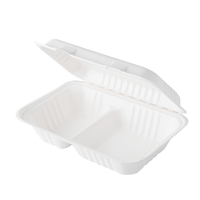 "9.8""x6.5"" x2.4"" Compotable Bagasse Rectangle 2 Compartment Clamshell Boxes"