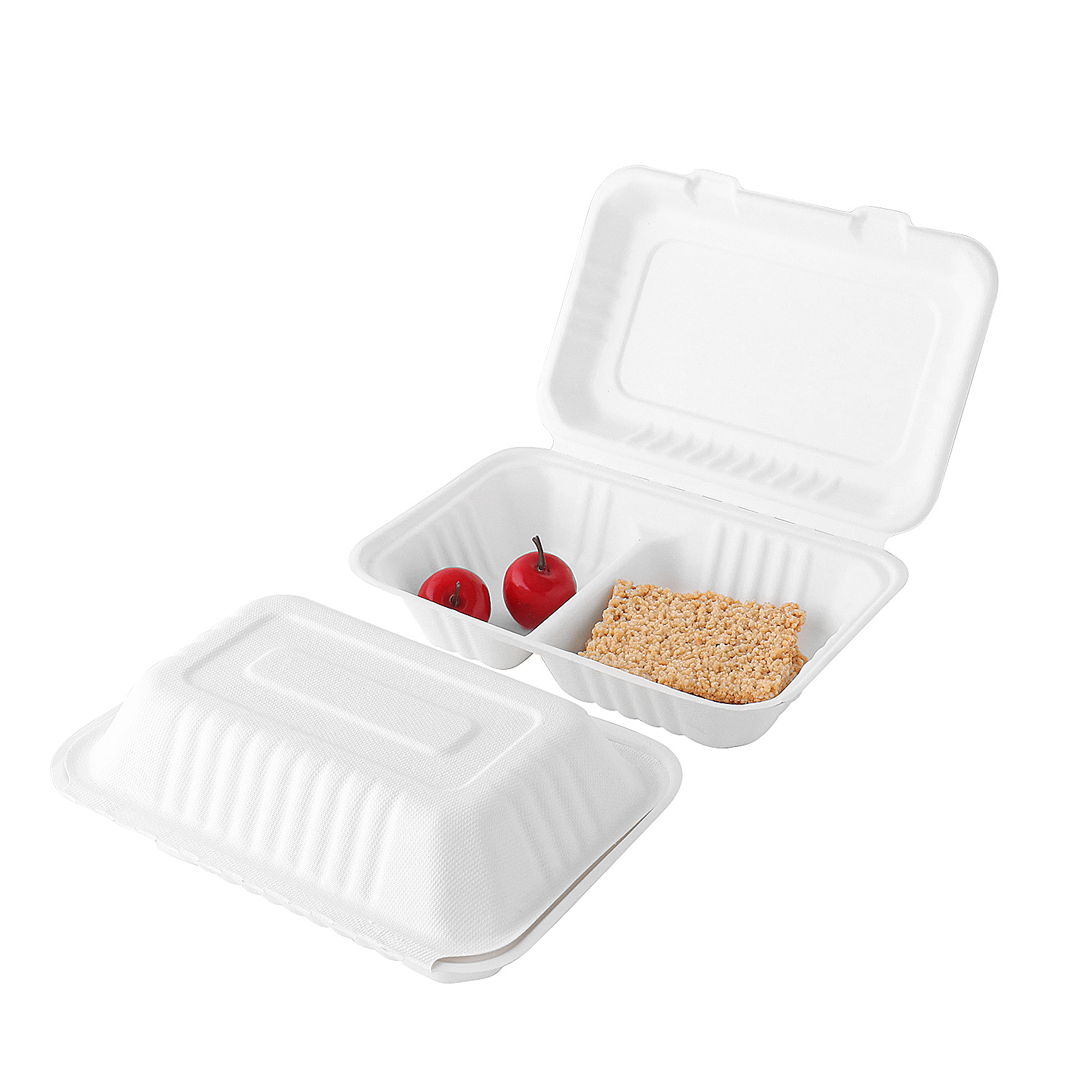 "9.8""x6.5"" X2.4"" Compostable Bagasse Rectangle 2 Compartment Clamshell Boxes"