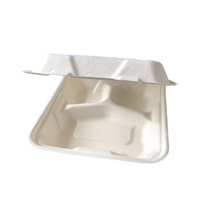 "8""x8"" x2.5'' Customized Bagasse 3 Compartment Clamshell Box"