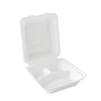 "8""x8"" x3'' Eco Food Packaging Bagasse 3 Compartment Clamshell Box"