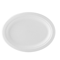 12.5'' X 10'' Compostable Bagasse Oval Plate